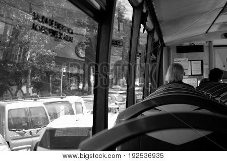 Bus. Inside the bus. Marbella - Estepona city, Costa del Sol, Andalusia, Spain.