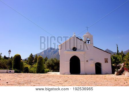 Church. Little white church in Marbella city. Costa del Sol, Andalusia, Spain.
