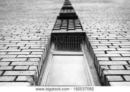 Black and white perspective brick building city background hd