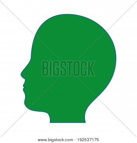 human head icon over white background colorful design vector illustration