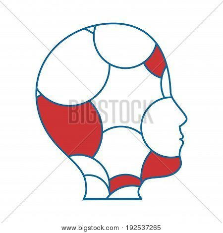 head with colorful circular shapes icon over white background vector illustration