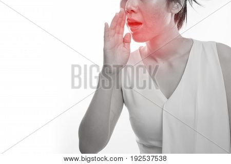 Young asian woman having Bad breath on isolated white background concept of health care lifestyle.