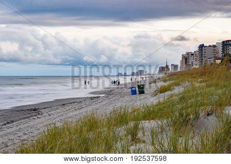 Seashore at sunset in Myrtle Beach South Carolina