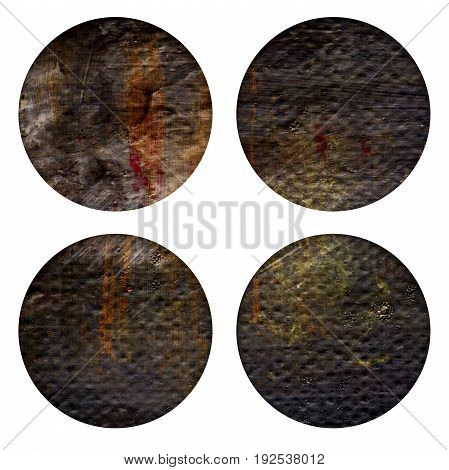 Set of brown acrylic hand painted circle isolated on white. Acrylic Illustration for artistic design. Round stains blobs of brown coffee color