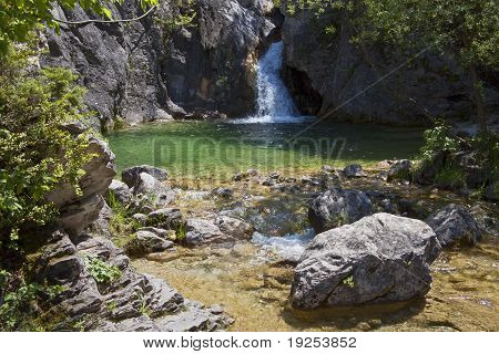 Orlia waterfall at mountain Olympus in Greece poster