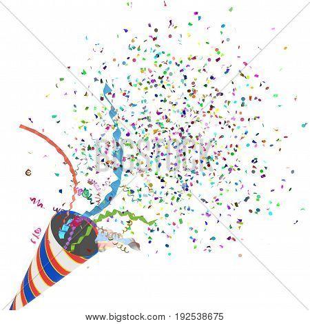 Party cracker exploding 3d illustration isolated horizontal over white