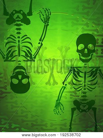 Skeleton shadow dim color x-ray light green abstract 3d illustration vertical