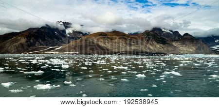 The Aialik Glacier flows in to a bay of the same name drains the Harding Ice Field