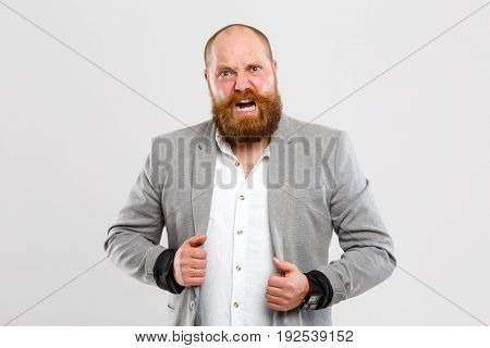 Angry, screaming man with beard