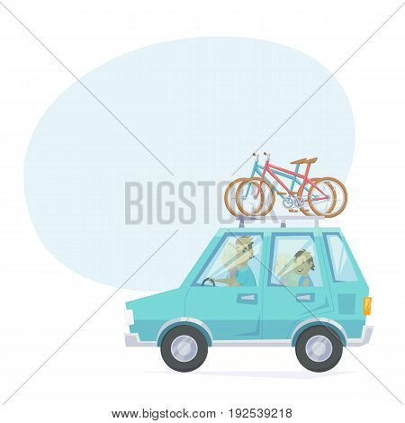Car with bicycle mounted to the roof rack. Happy parents and children riding in a car with bike. Family road trip weekend getaway journey in bike park. Vacation