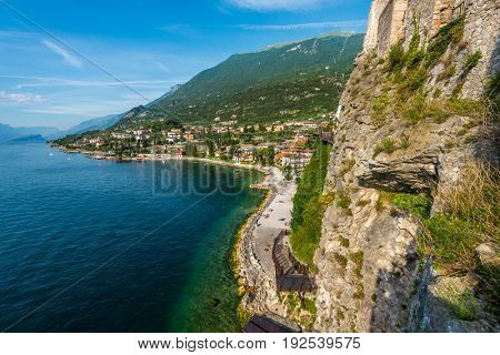 View over the Malcesine town and lake Garda from the Scaliger Castle, Lake Garda, Italy
