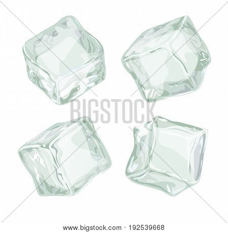 Ice cubes set isolated on white background. Not transparent frozen water block vector iilustration for cocktails and cool drinks