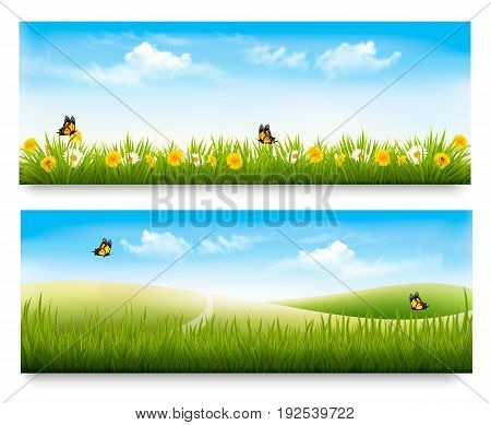 Two spring meadow banners with grass and flowers. Vector.