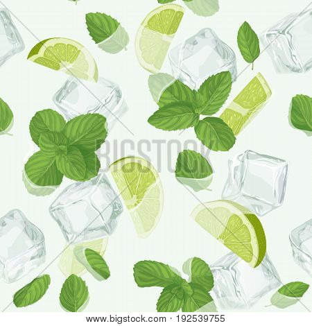 Mojito cocktail seamless pattern. Top view lemonade wallpaper. Illustration with mint, ice cube and lime. Fresh summer time print or t-shirt, prints, banner, party invitation or packaging design