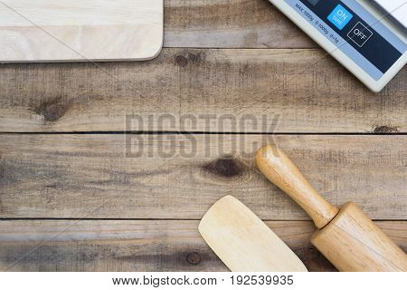 Wood Bakery Tool With  Digital Scales On Wood Table