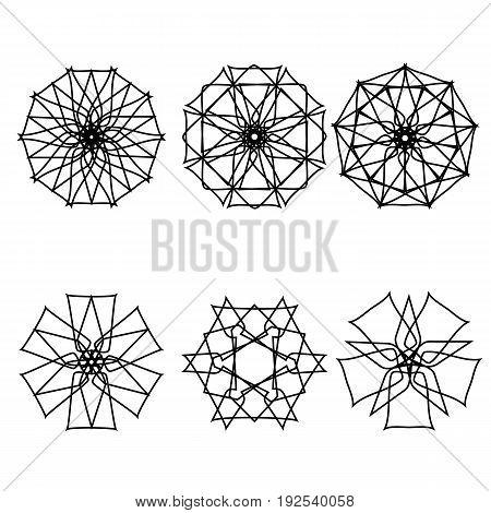 Geometric pattern symbols fractale pentogramm astrology stamp label