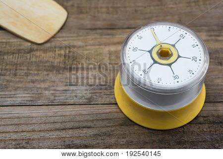 Bakery And Cooking Tools With Kitchen Timer On Wood Table
