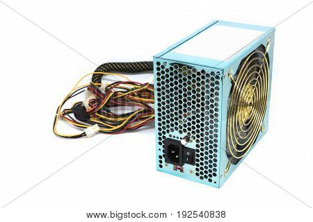 500W Power supply unit with cable and switch I O green color for full ATX Tower case PC have big fan for cool ioslated on white background