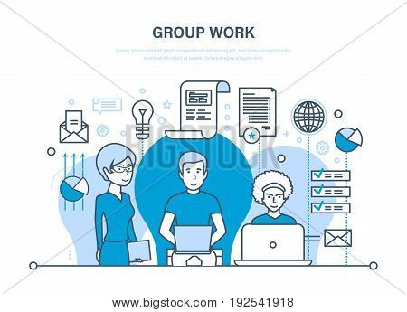 Group work, people in office, teamwork, partners, colleague, business people, communications, brainstorm, cooperation Illustration thin line design of vector doodles infographics elements