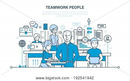 Teamwork people, partners, colleague, business people, communications, brainstorm, cooperation. Illustration thin line design of vector doodles infographics elements