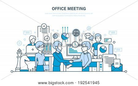 Office meeting, workflow space, teamwork, partnership, exchange of information, communications. Illustration thin line design of vector doodles, infographics elements.