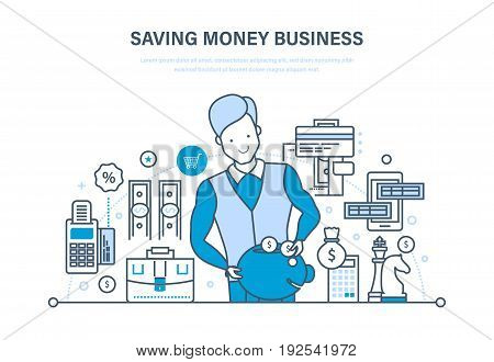 Saving money business, investment, security of deposits and finance, capital markets, success strategy, credits. Illustration thin line design of vector doodles, infographics elements.