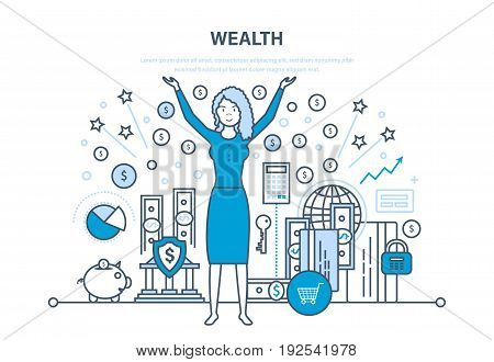 Wealth, financial investments and success, marketing, security of deposits, guarantee of secure financial savings and money turnover. Illustration thin line design of vector doodles, infographics elements.