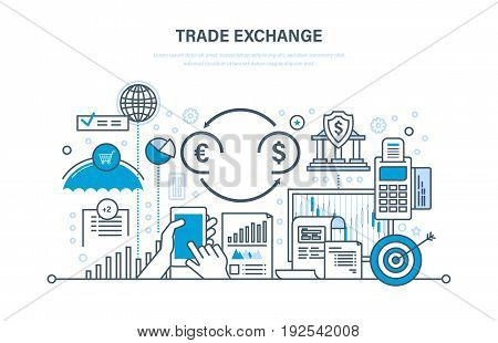 Trade exchange, trading, protection of trades, growth of finance, economic indicators, interaction with clients, transaction. Illustration thin line design of vector doodles, infographics elements.
