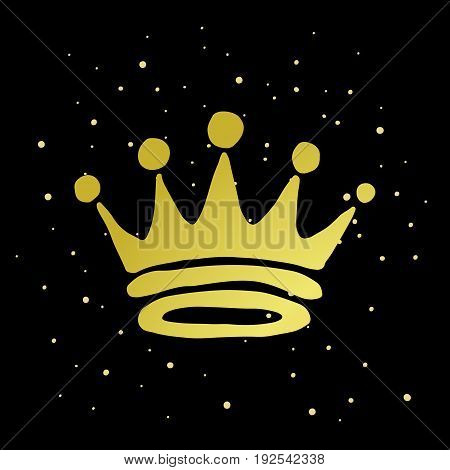 Hand drawn gold crown on the dark background. King and queen crown doodle style. Vector illustration.