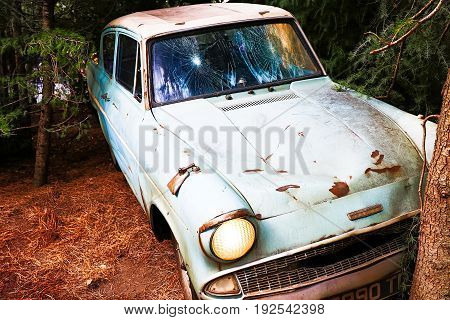Osaka, Japan - May 19, 2017: The Ford Anglia in the Wizarding World of Harry Potter in Universal Studios Japan. Universal Studios Japan is a theme park in Osaka, Japan.Weasley Car Harry Potter