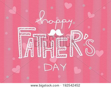 Happy Father's day on pink heart watercolor painting background illustration
