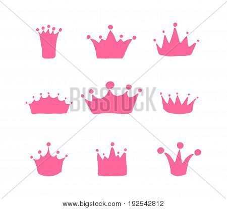 Vector set of hand drawn crowns for young princess. Queen crown doodle style.