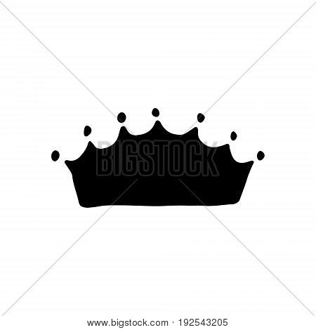 A hand drawn crown for young prince or princess. King and queen crown doodle style.