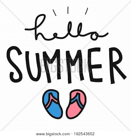 Hello summer word and sandal illustration white background