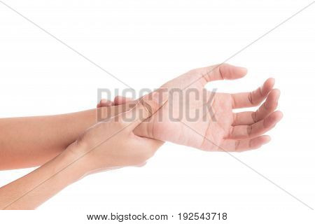 woman hands pain on white background',office syndrome concept