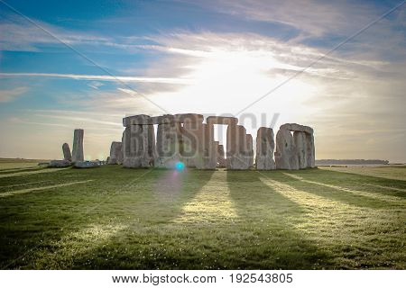 Stonehenge in the light of the setting sun