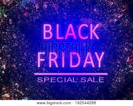 Black Friday special sale neon word on color splash abstract background illustration