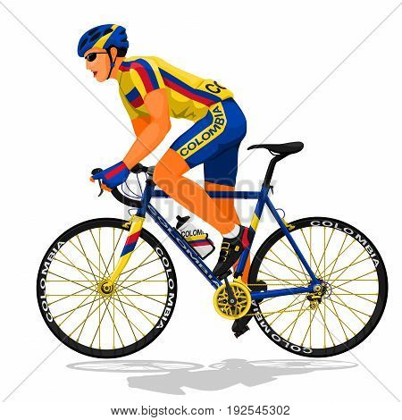 Colombia national road cyclist on transparent background
