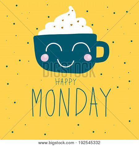 Happy Monday cute coffee cup on polka dot background illustration
