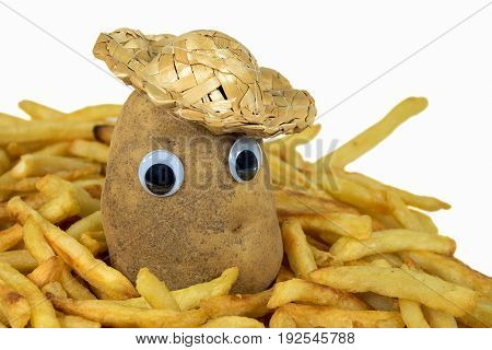 whole potato with eyeballs and straw hat in golden french fries