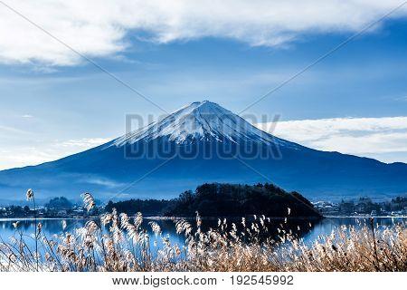 Fuji mountain with blue sky landscape in Japan