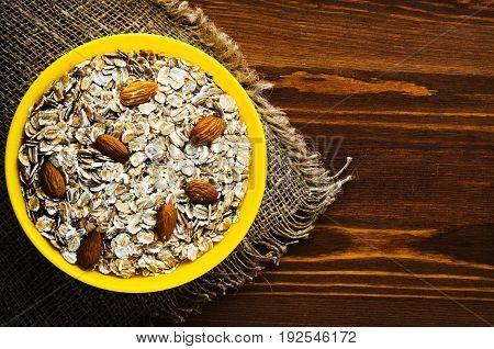 Muesli With Nuts Almond. Muesli On A Wooden Table. Muesli Top View. Healthy Food .