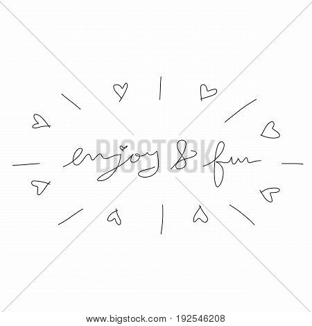 Enjoy and fun word lettering on white background illustration