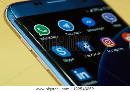 New york, USA - June 24, 2017: Different set of messenger application icon on smartphone screen close-up