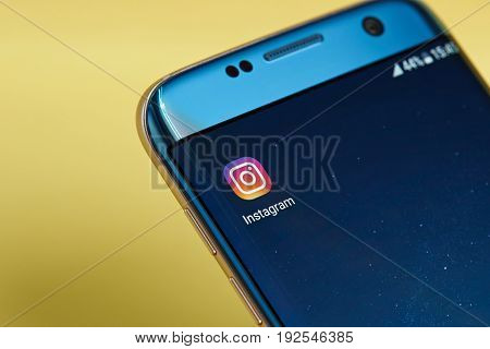 New york, USA - June 23, 2017: Instagram application icon on smartphone screen close-up. Instagram app icon with copy space on screen