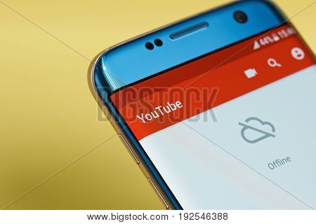New york, USA - June 23, 2017: Youtube application menu on smartphone screen close-up offline. Using Youtube app