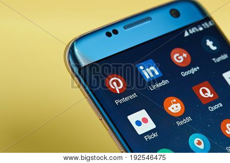 New york, USA - June 23, 2017: Social network application icon on smartphone screen close-up. Social network app icon with copy space on screen