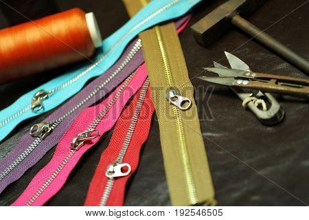 close up of colorful Zippers for leather and fabric homemade business