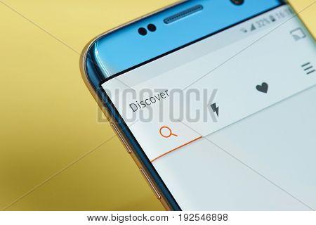 New york, USA - June 23, 2017: SoundCloud application menu on smartphone screen close-up. Using SoundCloud app