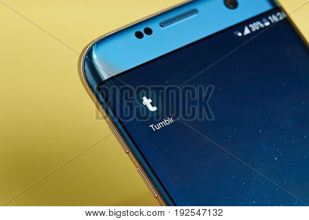 New york, USA - June 23, 2017: Tumblr  application icon on smartphone screen close-up. Tumblr app icon with copy space on screen